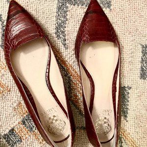 Vince Camuto Red Embossed Leather Flats - 7.5